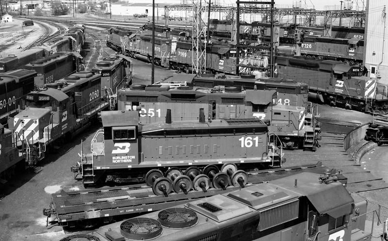 BN Locomotives at Roundhouse in Denver, CO<br /> (Photo by William A. Shaffer)