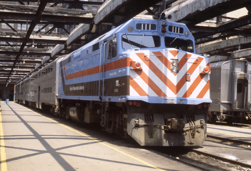 Chicago Suburban Service #111 at LaSalle Street Station<br /> (Photo by William A. Shaffer)