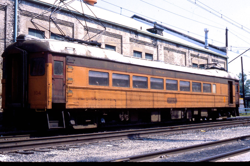 CSS&SB Car #104 at Michigan City Shops Station.<br /> (Photo by William A. Shaffer)