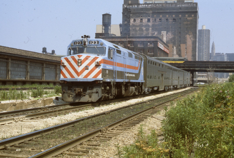 Chicago Suburban Service #123<br /> (Photo by William A. Shaffer)