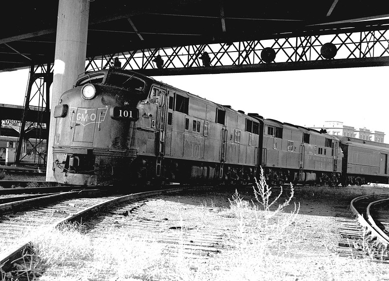 GM&O #101 and #101A are EMD E7A Locomotives, shown at St. Louis Union Station<br /> (Photo by William A. Shaffer)