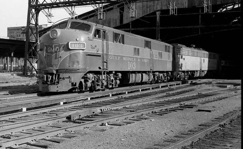 GM&O #103, an EMD E7A Locomotive, is shown at St. Louis Union Station<br /> (Photo by William A. Shaffer)
