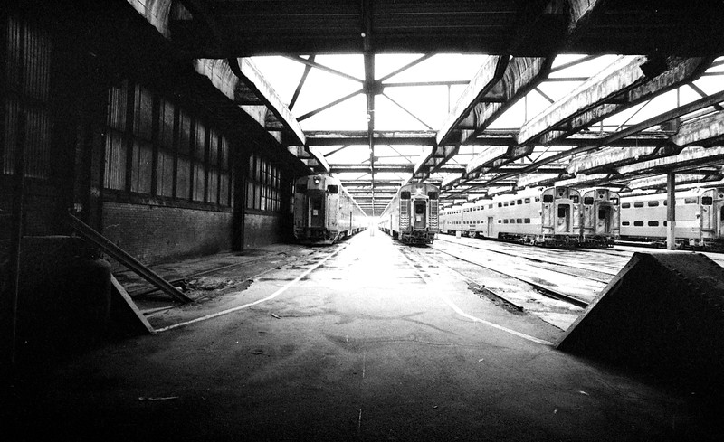 Under the train shed at LaSalle Station in Chicago, IL.<br /> (Photo by William A. Shaffer)