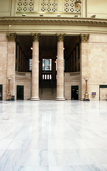 An example of the beautiful Corinthian Columns located inside Chicago Union Station.<br /> (Photo by William A. Shaffer)