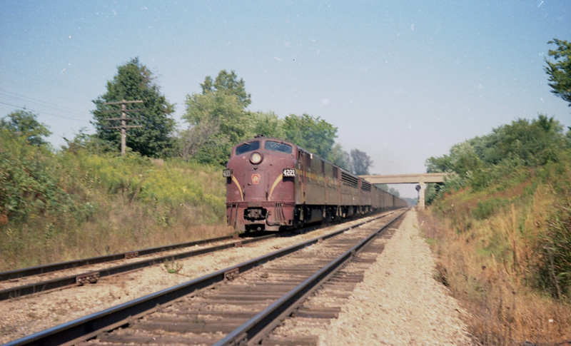 Pennsylvania #4221 hurries a passenger train en route to St. Louis. MO.<br /> (Photo by William A. Shaffer)