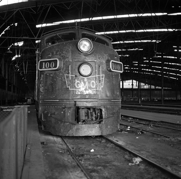 GM&O #100, an EMD E-7A Locomotive, is shown at St. Louis Union Station<br /> (Photo by William A. Shaffer)