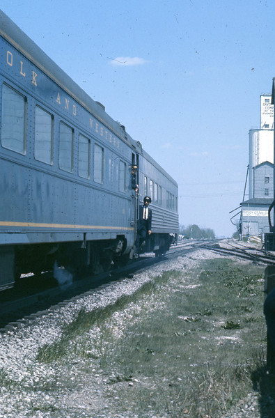 """As the """"Cannon Ball"""" rolls to a stop, the employees prepare to board and detrain their passengers on this last run.<br /> (Photo by William A. Shaffer)"""