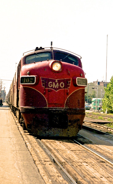 GM&O #102, an EMD E7A, is shown arriving at Springfield, IL.<br /> (Photo by William A. Shaffer)