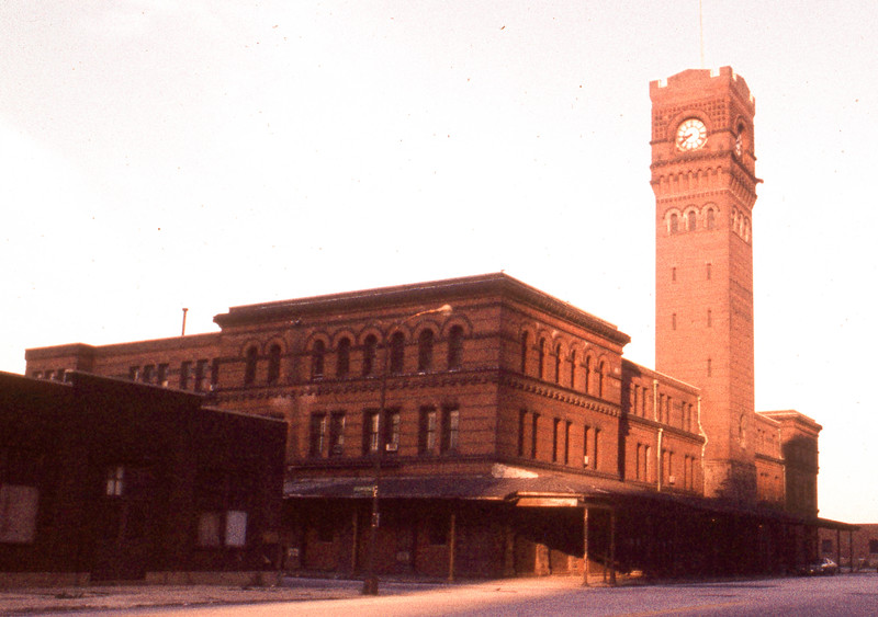 When Dearborn Station ceased operations completely in 1976, the station became abandoned and many feared headed for demolishment.  The train shed was torn off and much of the depot was demolished, saving the Head House and Clock Tower.<br /> (Photo by William A. Shaffer)