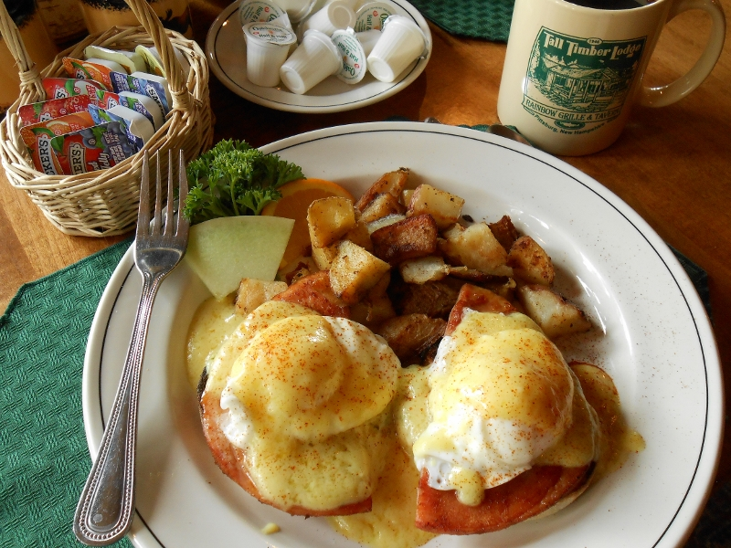 Eggs Benedick breakfast at Tall Timber Lodge in Pittsburg, NH.