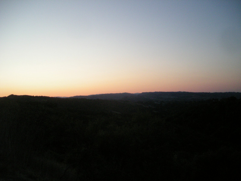 Sunrise over the East Bay hills.