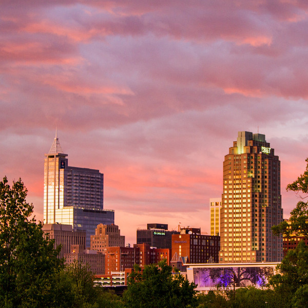 Raleigh City Skyline at Sunset
