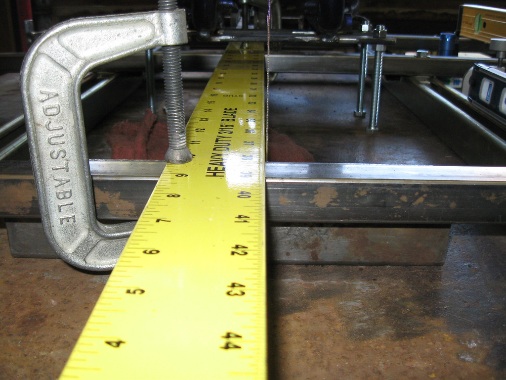 centerline fixture, looking front to back with plumb bob