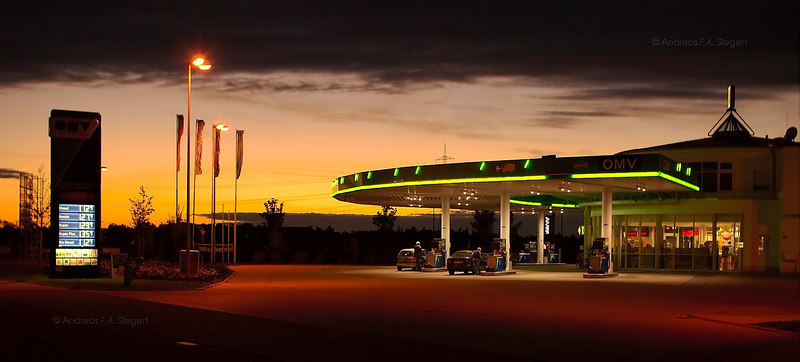 Gas station at dusk