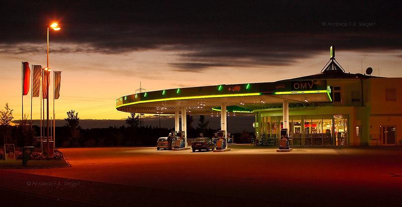 ÖMV - gas station at twilight