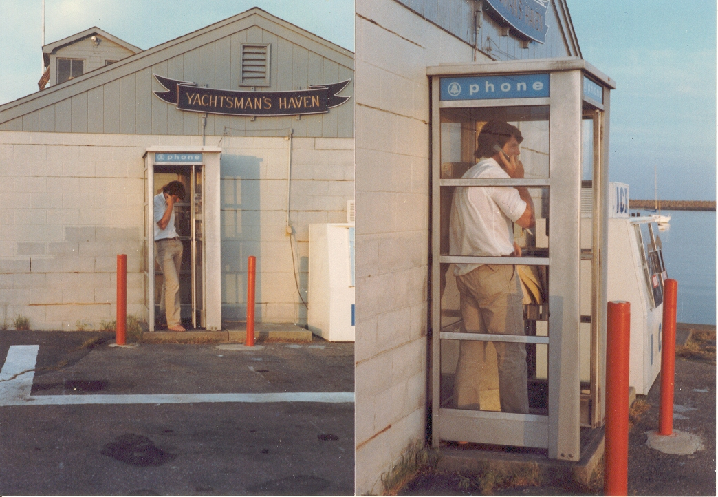 """""""It's a bird, it's a plane, it's..........Actor Christopher Reeve, he would  keep his sailboat at Fairhaven Marine in Fairhaven Massachusets.  I caught this shot of   """"Superman""""   in the marina phone booth just before he tore his shirt off and disappeared over the Fairhaven horizon.    Pretty neat uh?"""