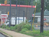 June, 2008, the overhang completely blows off the Lukoil gas station at the corner.  Pretty wild windstorm.