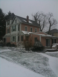 Holly House in the Snow.