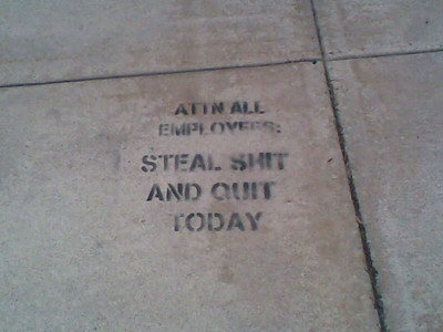 OK, George saw this one day lierally stecilled on the ground in front of his building....in Princeton....um.....okay.