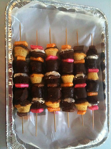George's awesome desert-kabobs.  Mini cupcakes, chocolate marshmallows, multi flavored wafers.  Labor intesive, but YUMMMMMY!