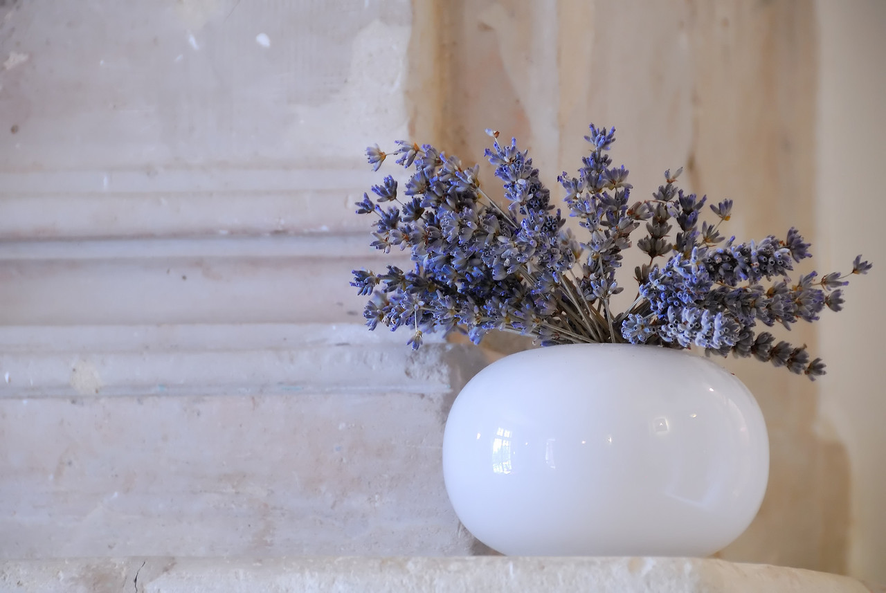 A pot of Lavender on a mantle