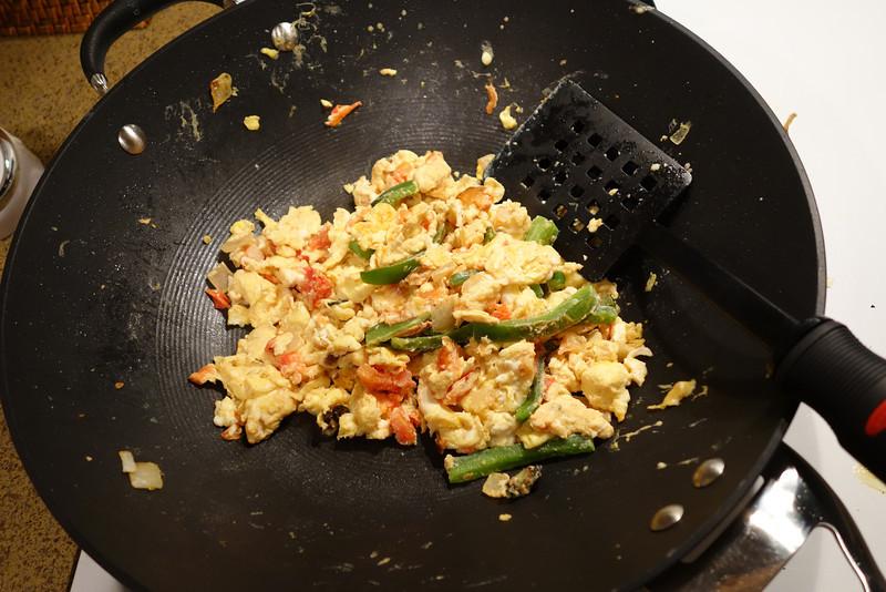 Cooking migas for breakfast!