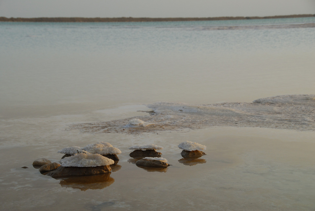 Salt buildup on rocks on the shores of the Dead Sea in Israel