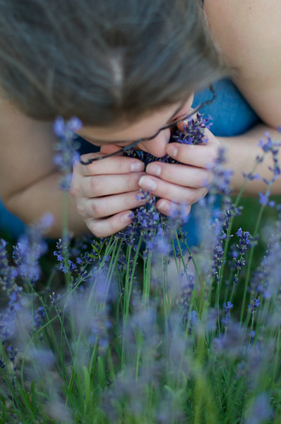Courtney stops to smell the lavender