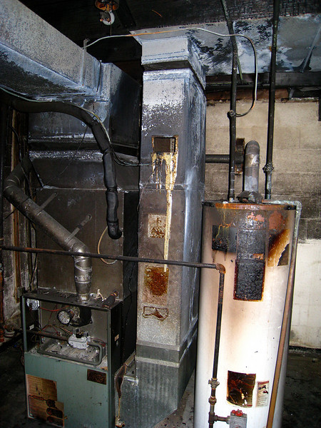 The fire was in the utility room, you can see where (something) melted.