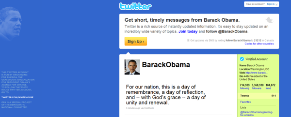 Obama had exactly 911 tweets as of 9/11, 2010.