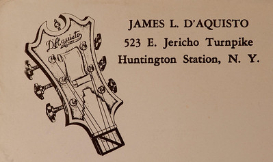 "James D'Aquisto's letterhead from his shop address in 1972.  D'Aquisto guitars were played by musicians such as Paul Simon and Joe Pass.  The owner of this guitar noted how D'Aquisto was a master at ""bringing out the sound,"" distinguishing it from other custom made guitars."