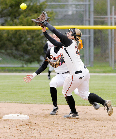 Don Knight | The Herald Bulletin<br /> Anderson University's Sorcha Cox catches a fly ball as the Ravens faced Transylvania during the HCAC tournament on Friday.