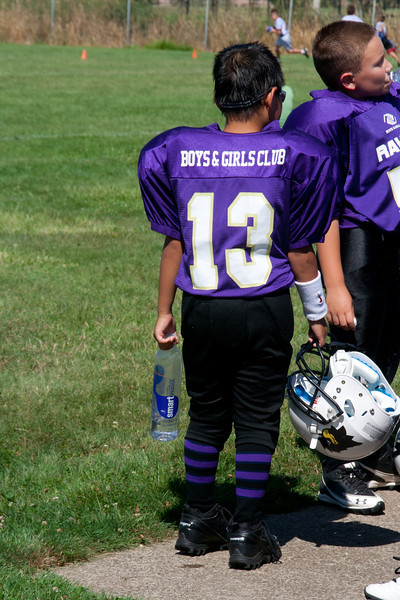 8-25-2012 Ethan# 13 Raven's football Jamboree<br /> Ethan after the games