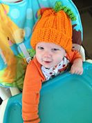 Kallen with his pumpkin hat on.<br /> <br /> Photographer's Name: Jill Neff<br /> Photographer's City and State: Anderson, Ind.