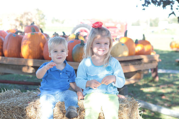 My grandchildren, Clayton and Leah Adams of Huntertown, Ind., enjoying the pumpkin patch!<br /> <br /> Photographer's Name: Diana Adams<br /> Photographer's City and State: Frankton, Ind.