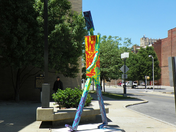 Next stop back up town to the Anderson Public Llbrary.  Man is not an Island by artist Tashana Preston sponsor The Hunger Games/Scholastic Books<br /> <br /> Photographer's Name: Evelyn Thomas<br /> Photographer's City and State: Anderson, IN