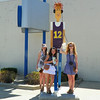 Now this walking man is more their age. Young is his name next to Daisy Artist from students at Pendleton Middle school. Shown with Katherine Christine and Ally<br /> <br /> Photographer's Name: Evelyn Bauer-Thomas<br /> Photographer's City and State: Anderson, IN