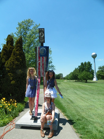 Lunch is refreshing now lets see the Patriot Man  by Artist Joe Flynn Katherine Christine and Ally found him behind the Edge near the golf Course.<br /> <br /> Photographer's Name: Evelyn Thomas<br /> Photographer's City and State: Anderson, IN