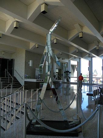 This Walking Man is not on the list must be a prototype.  Very cool covered in mirrors. Located at City Hall<br /> <br /> Photographer's Name: Evelyn Thomas<br /> Photographer's City and State: Anderson, IN