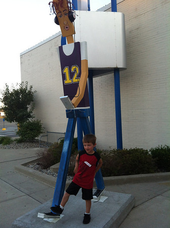 ethan with walking man<br /> <br /> Photographer's Name: Steve  Thornburg <br /> Photographer's City and State: Anderson , IN