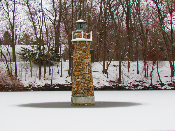 A lighthouse in the ice at Falls Park.<br /> <br /> Photographer's Name: Brian Fox<br /> Photographer's City and State: Anderson, Ind.