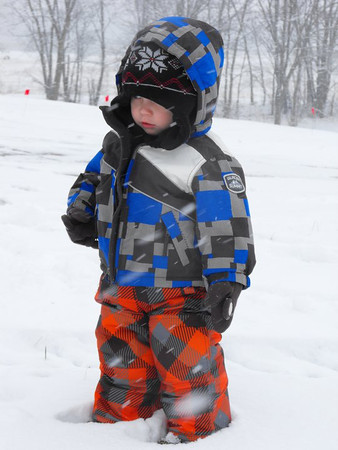 Let it snow, let it snow, let it snow: my grandson Eli Cox, checking out the snow.<br /> <br /> Photographer's Name: J.R. Rosencrans<br /> Photographer's City and State: Alexandria, Ind.
