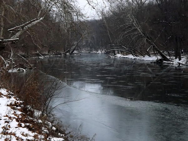 """""""Frozen White River"""" south of  Mounds Park.<br /> <br /> Photographer's Name: J.R. Rosencrans<br /> Photographer's City and State: Alexandria, Ind."""