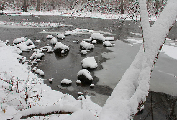 White River has a definite winter look these days. This was at Mounds Park.<br /> <br /> Photographer's Name: Jerry Byard<br /> Photographer's City and State: Anderson, Ind.