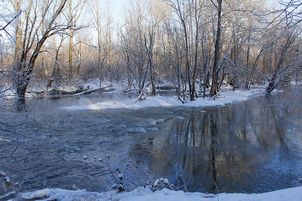 White River was beginning to freeze over at Mounds Park when I was hiking on Saturday.<br /> <br /> Photographer's Name: Jerry Byard<br /> Photographer's City and State: Anderson, Ind.