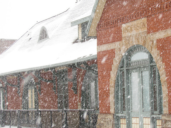 The Anderson train station in the snow.<br /> <br /> Photographer's Name: Brian Fox<br /> Photographer's City and State: Anderson, Ind.