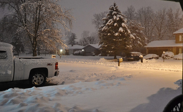 The snow is finally tapering off here in Delmar Estates.<br /> <br /> Photographer's Name: Colleen Sanders Brown<br /> Photographer's City and State: Anderson, Ind.