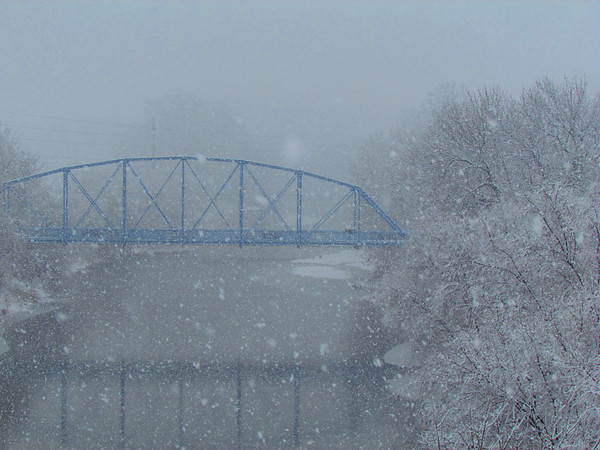 Blue bridge on a gray day.<br /> <br /> Photographer's Name: Brian Fox<br /> Photographer's City and State: Anderson, Ind.