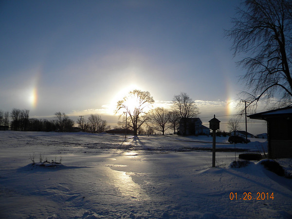 Beautiful country morning with a snow rainbow following last night's high winds. <br /> <br /> Photographer's Name: Ronnie Kelly<br /> Photographer's City and State: Alexandria, Ind.