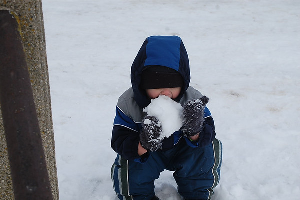 My great nephew Dalton Martin enjoying the snowfall.<br /> <br /> Photographer's Name: Mary King<br /> Photographer's City and State: Elwood, IN